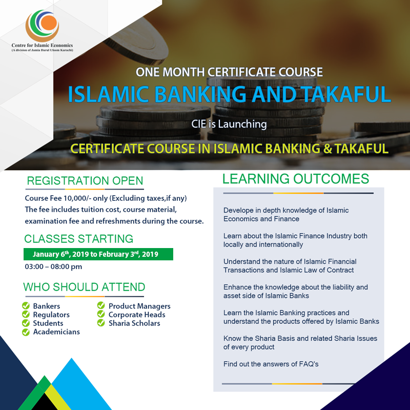Islamic Banking and Takaful - ONE MONTH COURSE
